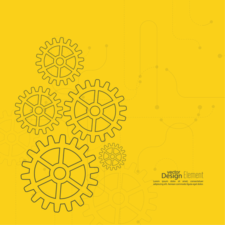 engineering design: Abstract background with gear wheel, geometric shapes and dotted lines. schematic representation technical data. Concept of motion,  mechanics, connection and operation engineering design work. yellow
