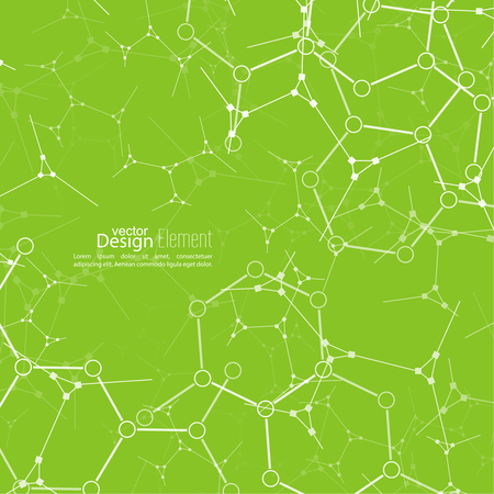 genetic: Abstract background with DNA strand, atom, molecule structure. genetic and chemical compounds. vector. green