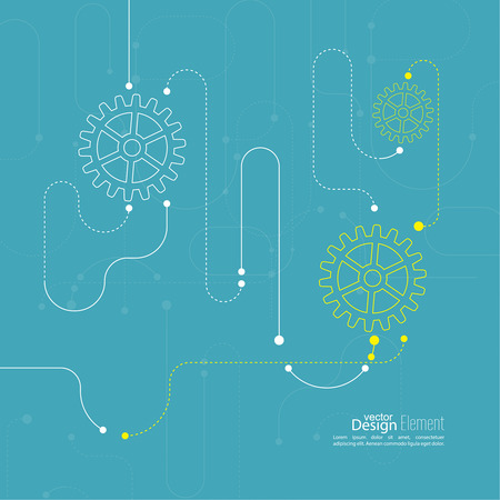 engineering design: Abstract background with gear wheel, geometric shapes and dotted lines. schematic representation technical data. Concept of motion,  mechanics, connection and operation engineering design work. Illustration