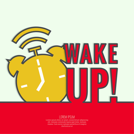 Background with alarm clock. The concept of early awakening. morning wake up and deadline. vector. flat design with shadow