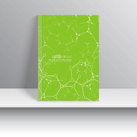 biologia: La portada de revista con pirámides brillantes, triángulos. Para el libro, folleto, folleto, cartel, folleto, prospecto, diseño de portada de CD, tarjetas postales, tarjetas de visita, el informe anual. ilustración vectorial. verde