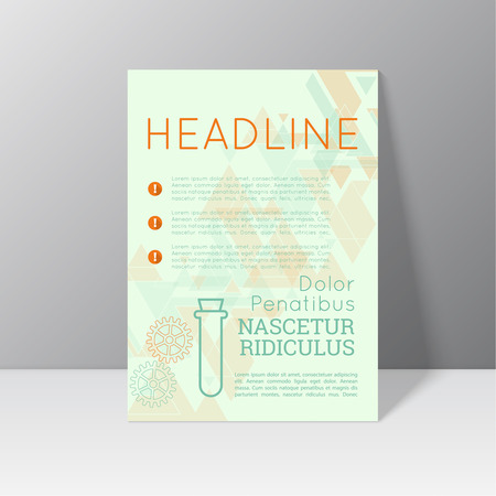 report card: Vector brochure template design with gears, translucent triangles  and different elements. Flyer or booklet Layout.