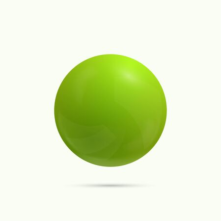 3d ball: Colorful glossy spheres with reflection. green icon