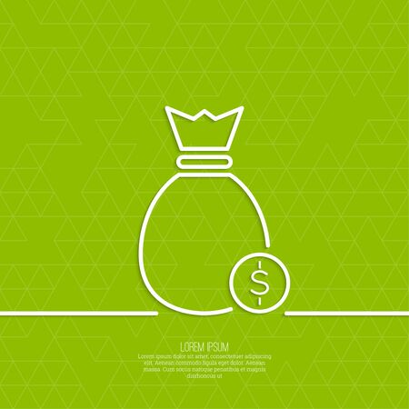 winning money: Bag with coins on a green background with triangles. Symbol of winning a prize, an award money. minimal. Outline. Illustration