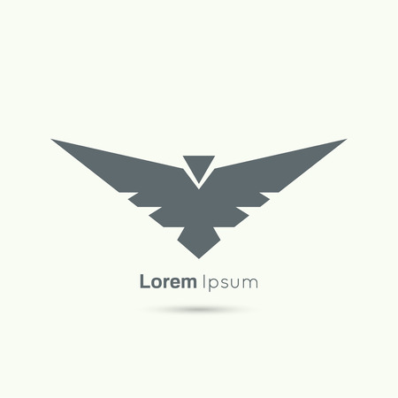 Abstract vector logo design template. Flying bird with spread wings. Aviation, army badge Çizim