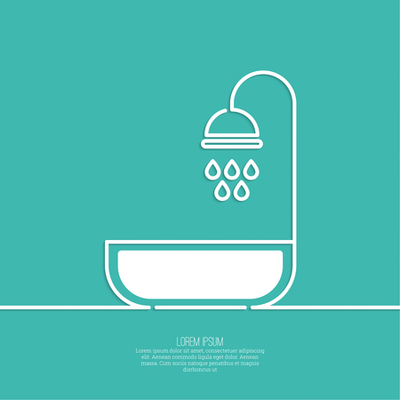 basin: Shower handle with water drops. Symbol shower, cleanliness, hygiene. minimal. Outline.