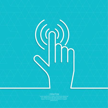 hand click. Hand cursor sign. minimal, outline