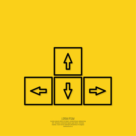 different directions: Keyboard cursor with different directions. uncertainty choice. minimal, outline. yellow
