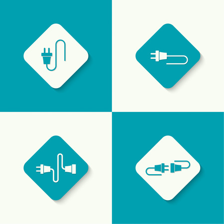 disconnection: Set icons with wire plug and socket. Concept connection, connection, disconnection, electricity. Flat design.
