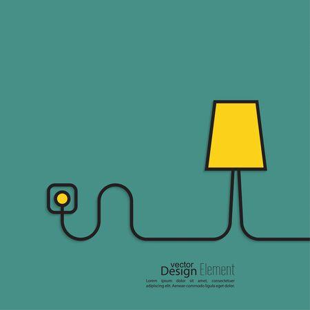 Lámpara de pie de alambre conectado a una toma de corriente.