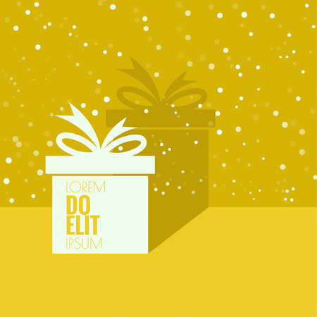 Gift box near wall with flat shadow and space for text.