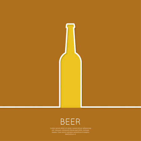 Abstract background beer bottle with yellow liquid and foam.