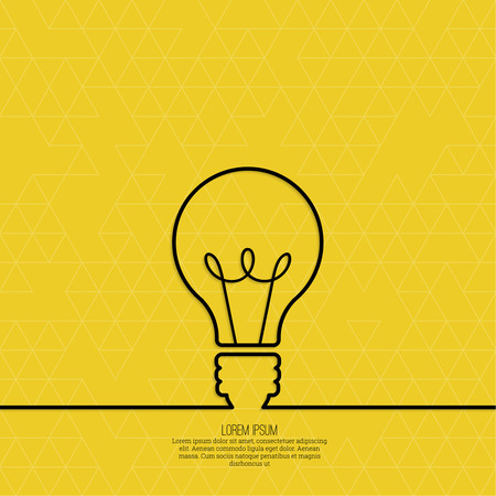 inspiration: Bulb light idea. concept of big ideas inspiration innovation, invention, effective thinking. text. outline