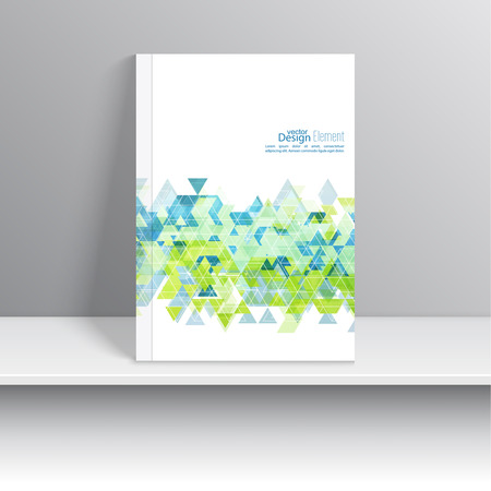 cyan business: Magazine Cover with  hipster  triangles. For book, brochure, flyer, poster, booklet, leaflet, cd cove, postcard, business card, annual report. abstract background. cyan, green Illustration