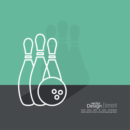 bowling strike: Bowling. Vector abstract background. Pin and ball. The concept of games, entertainment, hobbies and leisure club. Flat design with shadow. Outline Illustration