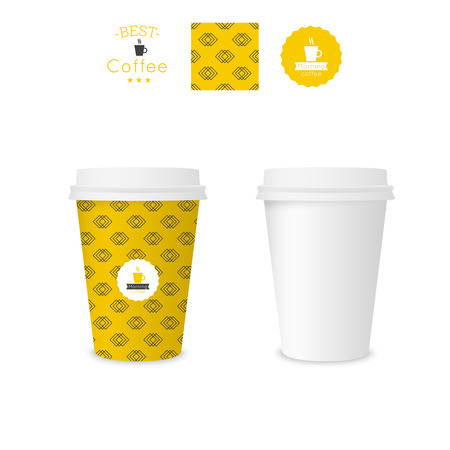 Closed paper cup for coffee with texture. Sample seamless pattern coffee badge. Mock up. yellow Vector
