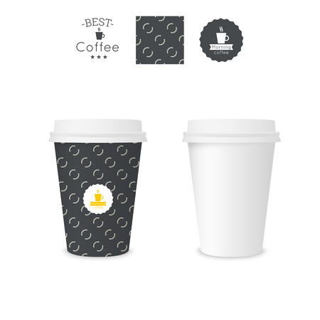 polystyrene: Closed paper cup for coffee with texture. Sample seamless pattern coffee badge. Mock up. black