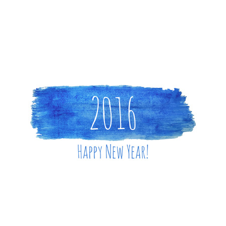 watercolor smear: Smear a watercolor painting. creative happy new year 2016 design. blue color.