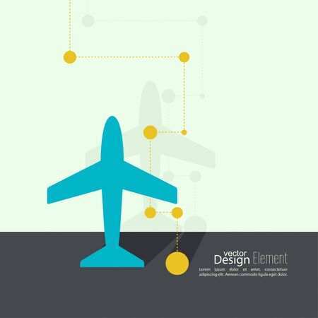 takeoff: Icon plane near the wall with flat shadow and the scheme of flight points.   Illustration