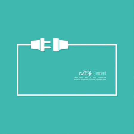 electric outlet: Abstract background with wire plug and socket. Concept connection, connection, disconnection, electricity. Illustration