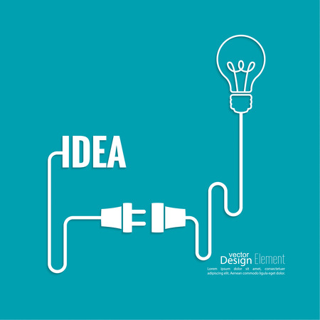 plug electric: Bulb light idea. concept of big ideas inspiration innovation, invention, effective thinking. Starting the thinking process