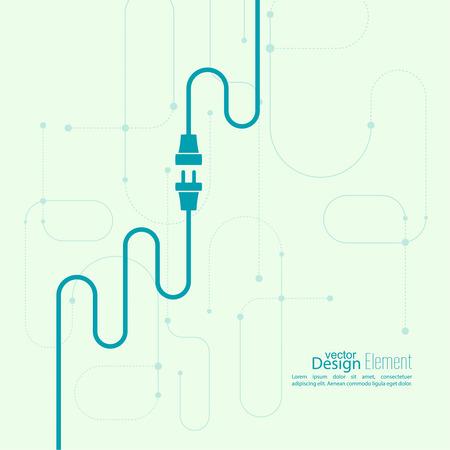 conexiones: Resumen de antecedentes con el enchufe del alambre y el zócalo. Concepto de conexión, conexión, desconexión, electricidad. Diseño plano.