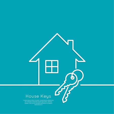 Das Konzept des Hauses schlüsselfertige. Icon Hause und Schlüsselanhänger. flache Bauweise. minimal. Umriss.