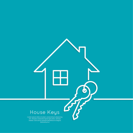 rent house: The concept of the house turnkey. Icon home and keychains. flat design. minimal. outline.