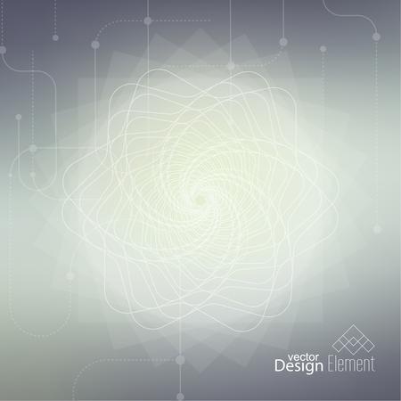 geometria: Fondo enmascarado aseado abstracto con l�neas y puntos. Glowing espiral mandala. Chakra. Autoconocimiento en la meditaci�n. alma sagrada. Mente c�smica superior Vectores