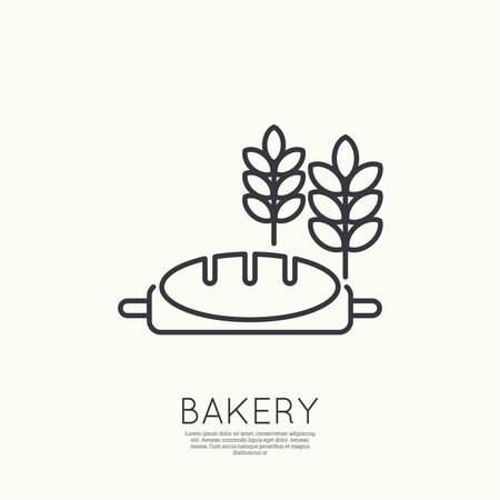 wheat bread: A loaf of bread, wheat ears and rolling pin. Sign, emblem, badge, banner for confectionery, bakery.