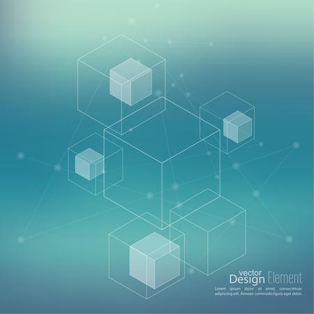 cubo: Fondo enmascarado aseado abstracto con cubos transparentes, hexágonos canal. Diseño de Techno del futuro, el minimalismo. Vectores