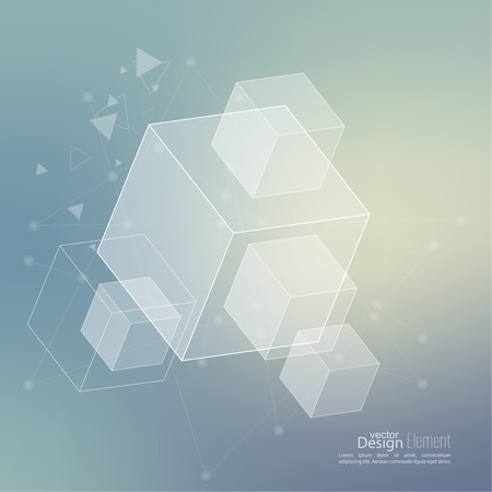 data: Abstract neat Blurred Background with transparent cubes, hexagons carcass. Techno design of future, minimalism.