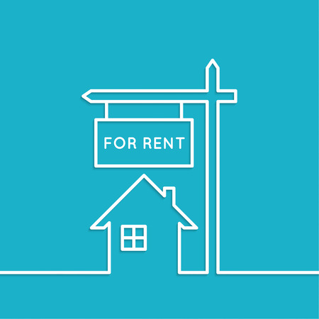 House with a sign for rent. Rental housing. real estate logo. blue background. minimal. Outline. Illustration