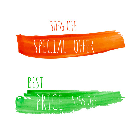 daub: Smear a watercolor painting. Discount goods. Special offer, best price of 50 off. orange, red, green. perfumes, cosmetics, cosmetology,