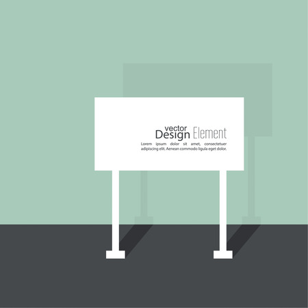 adboard: Abstract  background with  signs. Road sign. Warning. blank space for advertising, ads, text. flat design with shadow