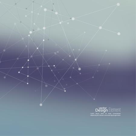 molecula: Fondo abstracto Virtual con partículas, estructura de la molécula.