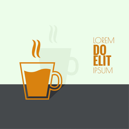 coffeehouse: Abstract background with steaming cup. Coffee and tea.  for menu, restaurant, cafe, bar, coffeehouse. flat design. minimal. outline icon.