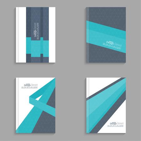 informe: Establezca la portada de revista con origami intersección cintas. Para el libro, folleto, folleto, cartel, folleto, prospecto, portada del CD, tarjetas postales, tarjetas de visita, el informe anual. ilustración vectorial. resumen de antecedentes