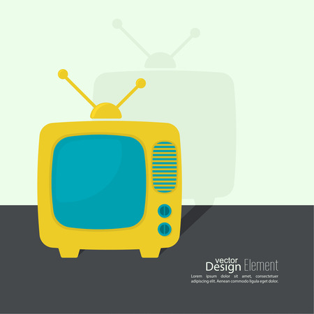 browse: Abstract background with old TV and antenna. Browse TV shows, commercials, movies and TV series. homeliness. Flat design with shadow.