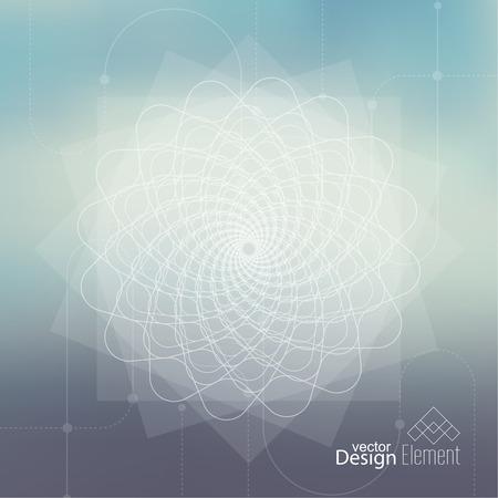 geometria: Fondo enmascarado aseado abstracto con líneas y puntos. Glowing espiral mandala. Chakra. Autoconocimiento en la meditación. alma sagrada. Mente cósmica superior Vectores