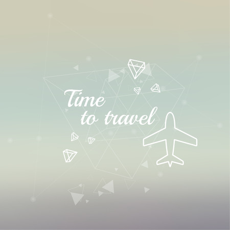 scattering: Abstract neat Blurred Background. Inspirational quote. Time to travel. wise saying in square. Lines and low polygonal scattering elements. airplane. flying plane Illustration