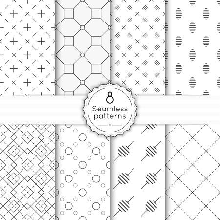trellis: Vector set seamless pattern with vintage old banner and ribbon. Repeating geometric shapes, diamond, cross, rhombus, diagonal dotted line, polka dot. minimalist, minimal, monochrome