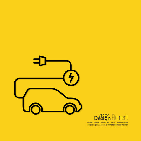 Icon of a hybrid car that runs on electricity. Recharge and clean energy. flat design. minimal. Outline. yellow background