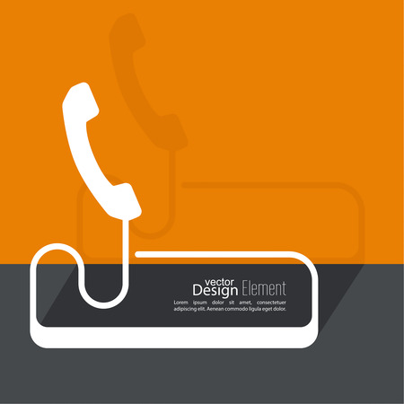 interaction: Abstract background with the handset hanging on a wire. The concept of adverse communication Call technical support. Contacts. Flat design with shadow. Outline