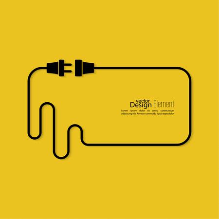 electricidad: Resumen de antecedentes con el enchufe del alambre y el zócalo. Concepto conexión, conexión, desconexión, electricidad. Diseño plano. Burbuja de diálogo.