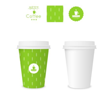 polystyrene: Closed paper cup for coffee with texture. Sample seamless pattern coffee badge. Mock up. green Illustration