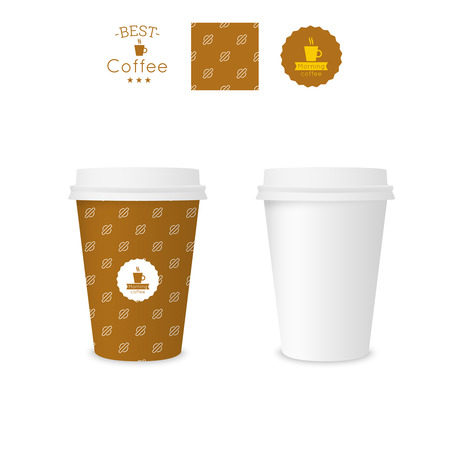 polystyrene: Closed paper cup for coffee with texture. Sample seamless pattern coffee badge. Mock up. brown