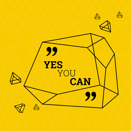 testimonials: Inspirational quote. Yes you can. wise saying in square