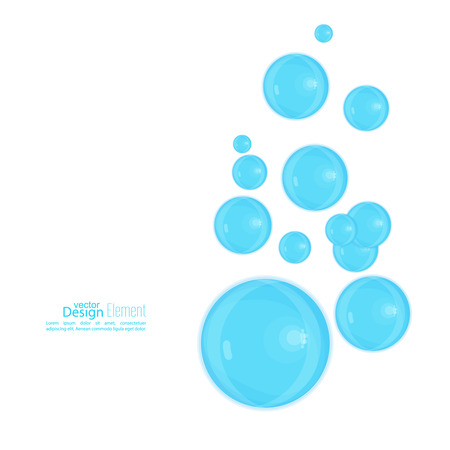 air flow: Abstract background with blue soap bubbles. Fresh Water Bubbles Illustration