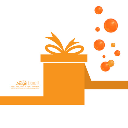 bow ribbon: Gift box with ribbon and bow and festive orange balls. Gift sertificate for washing, cleaning, spa treatments.